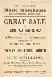Advert for Wilcocke's Music Warehouse